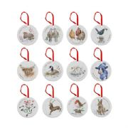 Wrendale 12 Days of Christmas Set of 12 Christmas Tree Decorations